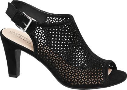 5th Avenue Zwarte suéde sandalette peeptoe