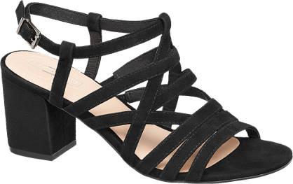 5th Avenue Zwarte suède sandalette gespsluiting