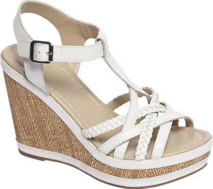 5th Avenue Witte leren sandalette met gespsluiting