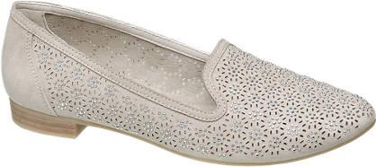 Graceland Licht grijze loafer perforaties