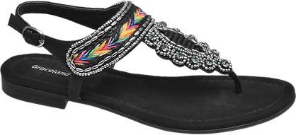 Graceland Zwarte sandaal sier kraaltjes