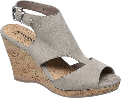 Graceland Grijze sandalette sleehak