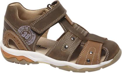 Bobbi-Shoes Bruine leren sandaal klittenband