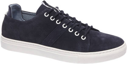AM shoe Donkerblauwe suède sneaker perforatie