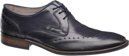 AM shoe Donkerblauwe leren veterschoen bewerkt