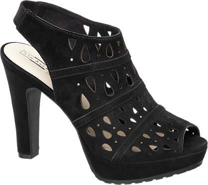 5th Avenue Zwarte suède sandalette opengewerkt