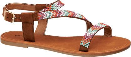 Graceland Bruine sandaal strass