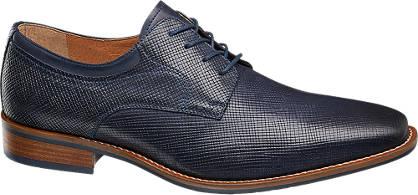 AM shoe Blauwe leren geklede veterschoen croco print