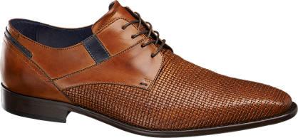 AM shoe Bruine leren geklede veterschoen geweven