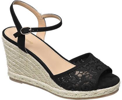 Graceland Zwarte sandalette kant