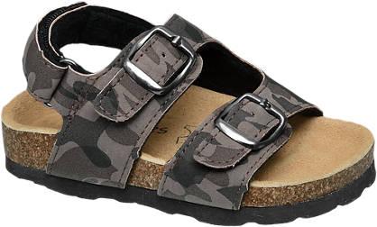 Bobbi-Shoes Zwarte sandaal camouflage print