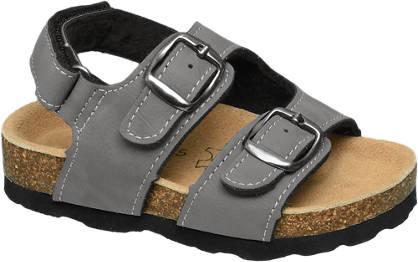 Bobbi-Shoes Grijze sandaal leren voetbed