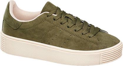Graceland Groene sneaker plateauzool
