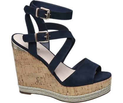 Graceland Blauwe sandalette kurk sleehak