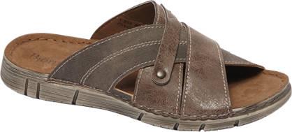 Björndal Bruine leren slipper leren voetbed