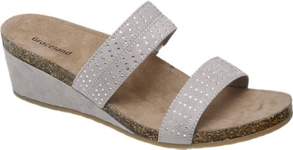 Graceland Licht grijze slipper strass