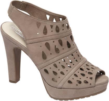 5th Avenue Grijze suède sandalette opengewerkt