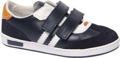 Bobbi-Shoes Blauwe leren sneaker klittenband