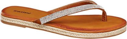 Graceland Bruine teenslipper strass