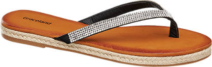 Graceland Zwarte teenslipper strass