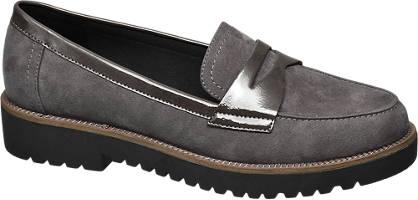 Graceland Grijze loafer metallic lak