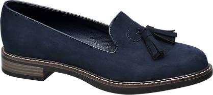 Graceland Blauwe loafer sierkwastjes
