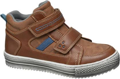 Agaxy Bruine halfhoge sneaker klittenband