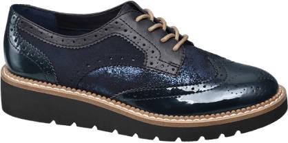 Graceland Blauwe dandy veterschoen glitters