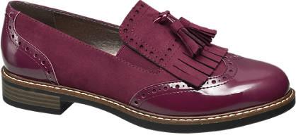 Graceland Bordeaux brogue loafer franjes