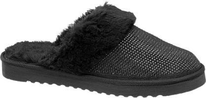 Casa mia Zwarte warmgevoerde pantoffel pailletten