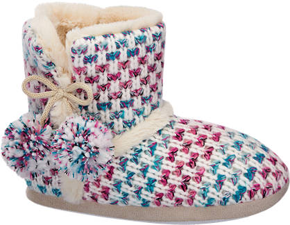 Casa mia Ladies Knitted Boot Slippers