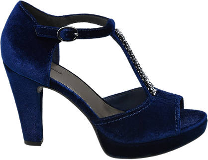 Graceland Donkerblauw pump peeptoe