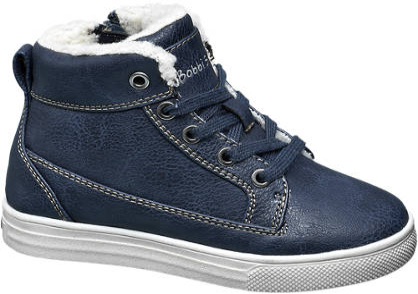 Bobbi-Shoes Blauwe halfhoge boot gevoerd