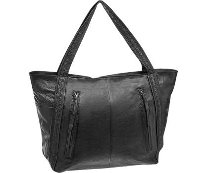 5th Avenue Zwarte leren shopper