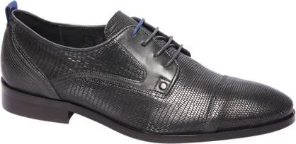 AM shoe Donkerblauwe leren veterschoen slagenprint