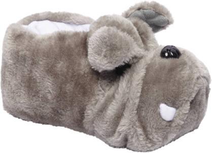 Casa mia Grijze warmgevoerde pantoffel hond