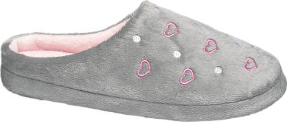 Ladies Heart Stitch Mule Slippers