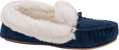 Ladies Plush Trim Moccasin Slippers