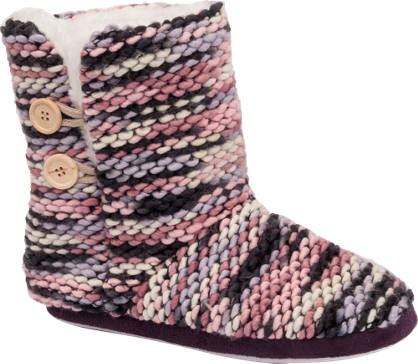 Ladies Knitted Boot Slippers
