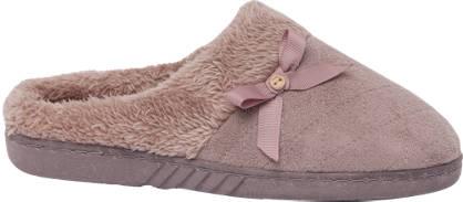 Ladies Bow Trim Mule Slippers