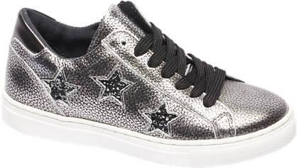 Graceland Zilveren leren sneaker sterren
