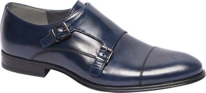 AM shoe Blauwe leren geklede instapper