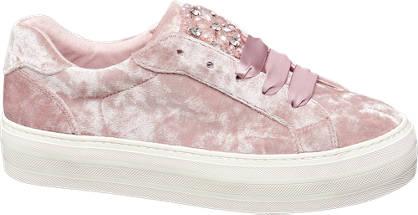 Graceland Roze velvet sneaker strass stenen