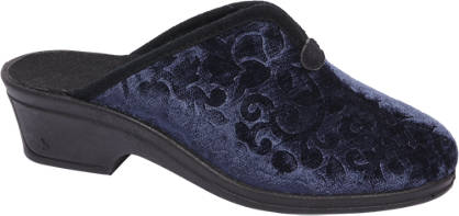 Casa mia Blauwe pantoffel velvet