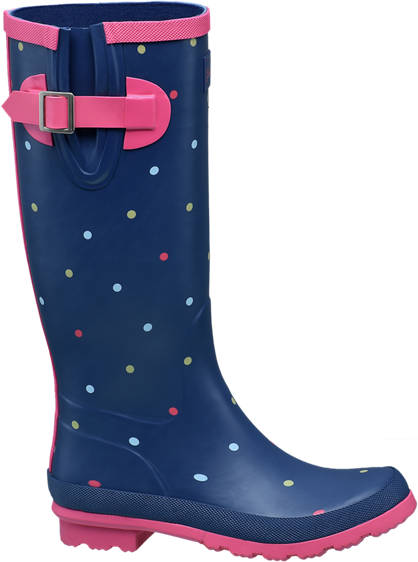 Graceland Ladies High Leg Polka Dot Wellington Boots