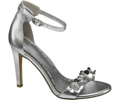 Graceland Zilveren sandalette bloemen