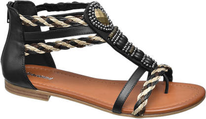 Graceland Zwarte sandaal geweven bandjes