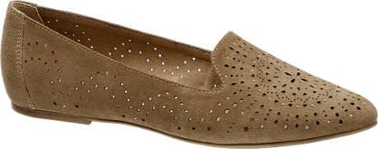 5th Avenue Bruine suède loafer perforatie