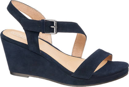 5th Avenue Blauwe suède sandalette sleehak