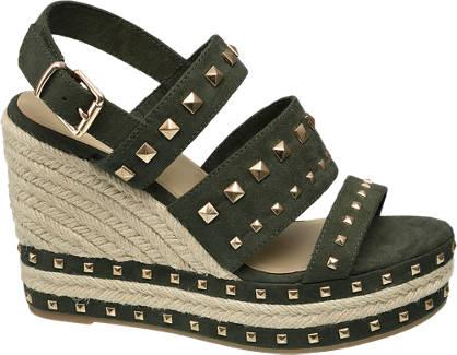Graceland Groene sandalette gouden studs